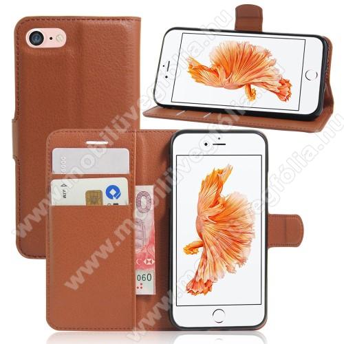WALLET notesz tok / flip tok - BARNA - asztali tartó funkciós, oldalra nyíló, rejtett mágneses záródás, bankkártyatartó zseb, szilikon belső - APPLE iPhone 7 (4.7) / APPLE iPhone 8 (4.7)
