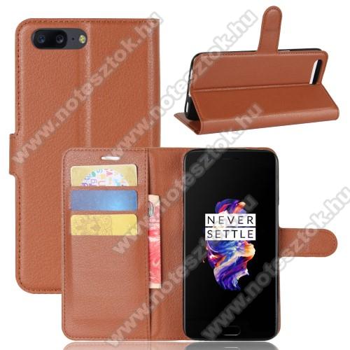 WALLET notesz tok / flip tok - BARNA - asztali tartó funkciós, oldalra nyíló, rejtett mágneses záródás, bankkártyatartó zseb, szilikon belső - OnePlus 5