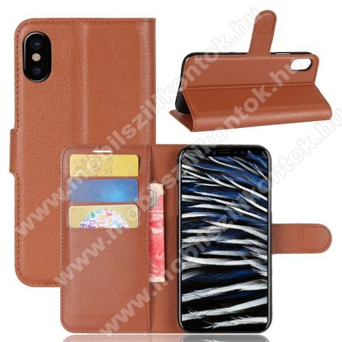 WALLET notesz tok / flip tok - BARNA - asztali tartó funkciós, oldalra nyíló, rejtett mágneses záródás, bankkártyatartó zseb, szilikon belső - APPLE iPhone X / APPLE iPhone XS