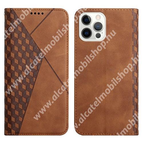 WALLET notesz tok / flip tok - BARNA - GRAVÍROZOTT ROMBUSZ MINTÁS - asztali tartó funkciós, oldalra nyíló, rejtett mágneses záródás, bankkártyatartó zseb, szilikon belső - APPLE iPhone 12 / iPhone 12 Pro
