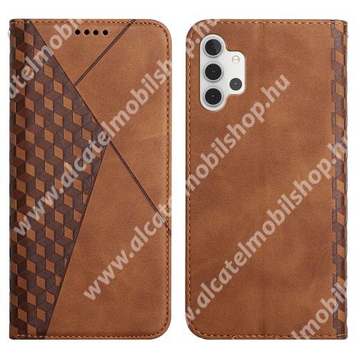 WALLET notesz tok / flip tok - BARNA - GRAVÍROZOTT ROMBUSZ MINTÁS - asztali tartó funkciós, oldalra nyíló, rejtett mágneses záródás, bankkártyatartó zseb, szilikon belső - SAMSUNG Galaxy A32 5G (SM-A326B) / Galaxy M32 5G (SM-M326B/DS)