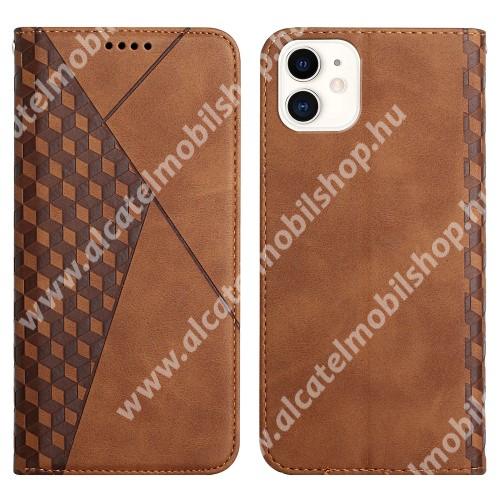 WALLET notesz tok / flip tok - BARNA - GRAVÍROZOTT ROMBUSZ MINTÁS - asztali tartó funkciós, oldalra nyíló, rejtett mágneses záródás, bankkártyatartó zseb, szilikon belső - APPLE  iPhone 11