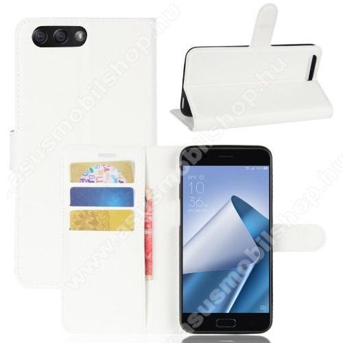 WALLET notesz tok / flip tok - FEHÉR - asztali tartó funkciós, oldalra nyíló, rejtett mágneses záródás, bankkártyatartó zseb, szilikon belső - ASUS Zenfone 4 (ZE554KL)