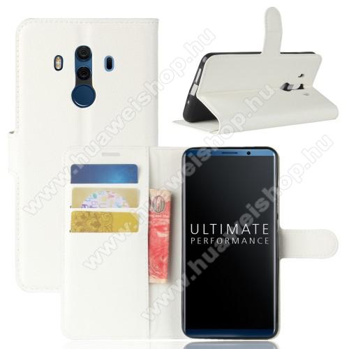 WALLET notesz tok / flip tok - FEHÉR - asztali tartó funkciós, oldalra nyíló, rejtett mágneses záródás, bankkártyatartó zseb, szilikon belső - HUAWEI Mate 10 Pro