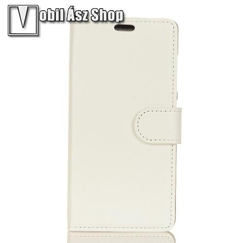 WALLET notesz tok / flip tok - FEHÉR - asztali tartó funkciós, oldalra nyíló, rejtett mágneses záródás, bankkártyatartó zseb, szilikon belső - OnePlus 5T