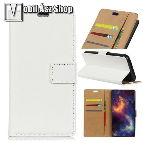 WALLET notesz tok / flip tok - FEHÉR - asztali tartó funkciós, oldalra nyíló, rejtett mágneses záródás, bankkártya tartó zsebekkel - OnePlus 5T