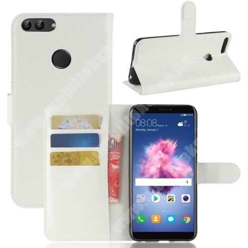 WALLET notesz tok / flip tok - FEHÉR - asztali tartó funkciós, oldalra nyíló, rejtett mágneses záródás, bankkártyatartó zseb, szilikon belső - HUAWEI P Smart / HUAWEI Enjoy 7S