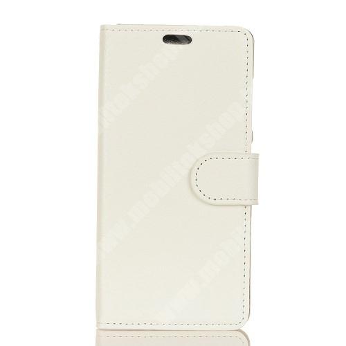 WALLET notesz tok / flip tok - FEHÉR - asztali tartó funkciós, oldalra nyíló, rejtett mágneses záródás, bankkártyatartó zseb, szilikon belső - Xiaomi Mi 8 SE