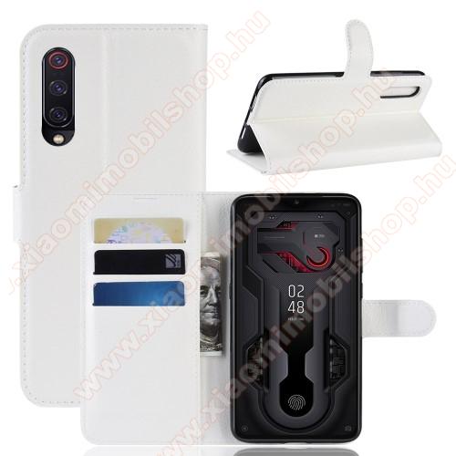 Wallet notesz tok / flip tok - FEHÉR - asztali tartó funkciós, oldalra nyíló, rejtett mágneses záródás, bankkártyatartó zseb, szilikon belső - Xiaomi Mi 9 / Xiaomi Mi 9 Explorer
