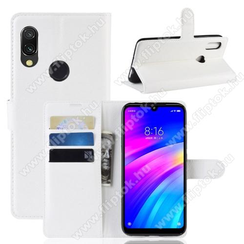 WALLET notesz tok / flip tok - FEHÉR - asztali tartó funkciós, oldalra nyíló, rejtett mágneses záródás, bankkártyatartó zseb, szilikon belső - Xiaomi Redmi 7 / Xiaomi Redmi Y3