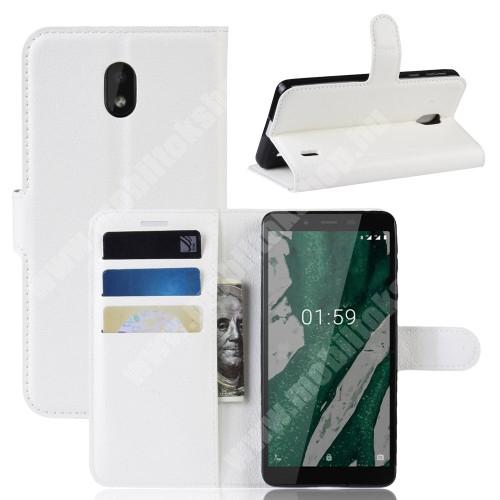 WALLET notesz tok / flip tok - FEHÉR - asztali tartó funkciós, oldalra nyíló, rejtett mágneses záródás, bankkártyatartó zseb, szilikon belső - NOKIA 1 Plus