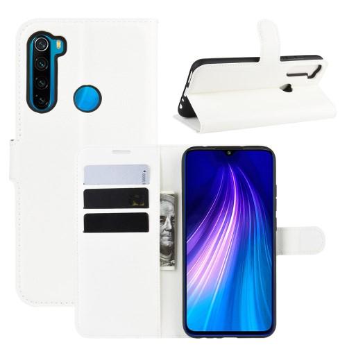 WALLET notesz tok / flip tok - FEHÉR - asztali tartó funkciós, oldalra nyíló, rejtett mágneses záródás, bankkártyatartó zseb, szilikon belső - Xiaomi Redmi Note 8