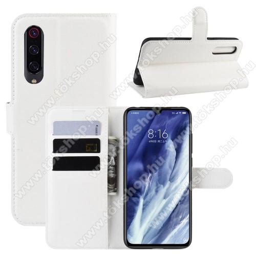 WALLET notesz tok / flip tok - FEHÉR - asztali tartó funkciós, oldalra nyíló, rejtett mágneses záródás, bankkártyatartó zseb, szilikon belső - Xiaomi Mi 9 Pro / Xiaomi Mi 9 Pro 5G
