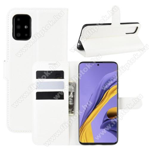 WALLET notesz tok / flip tok - FEHÉR - asztali tartó funkciós, oldalra nyíló, rejtett mágneses záródás, bankkártyatartó zseb, szilikon belső - SAMSUNG Galaxy A51 (SM-A515F)