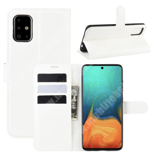 WALLET notesz tok / flip tok - FEHÉR - asztali tartó funkciós, oldalra nyíló, rejtett mágneses záródás, bankkártyatartó zseb, szilikon belső - SAMSUNG Galaxy A71 (SM-A715F)
