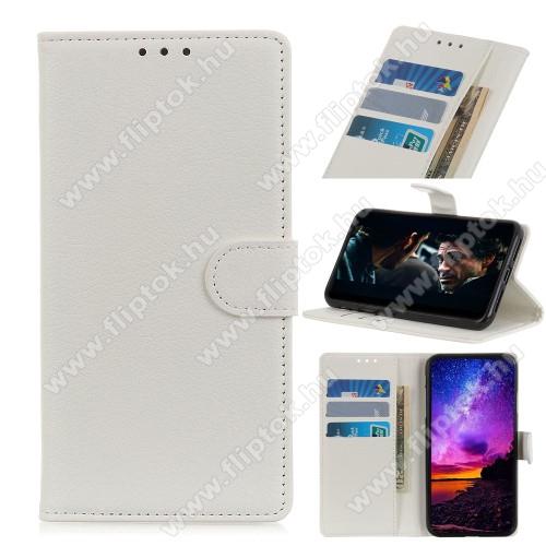 WALLET notesz tok / flip tok - FEHÉR - asztali tartó funkciós, oldalra nyíló, rejtett mágneses záródás, bankkártyatartó zseb, szilikon belső - SAMSUNG Galaxy A21s (SM-A217F/DS)