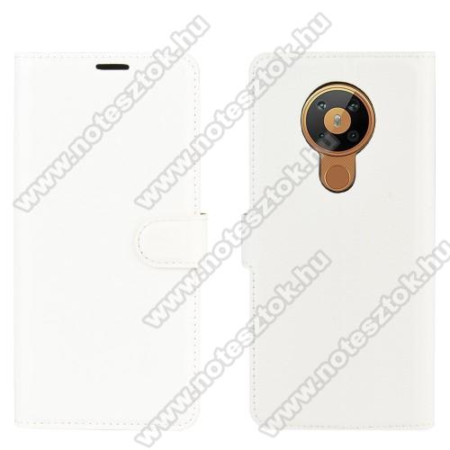 WALLET notesz tok / flip tok - FEHÉR - asztali tartó funkciós, oldalra nyíló, rejtett mágneses záródás, bankkártyatartó zseb, szilikon belső - NOKIA 5.3