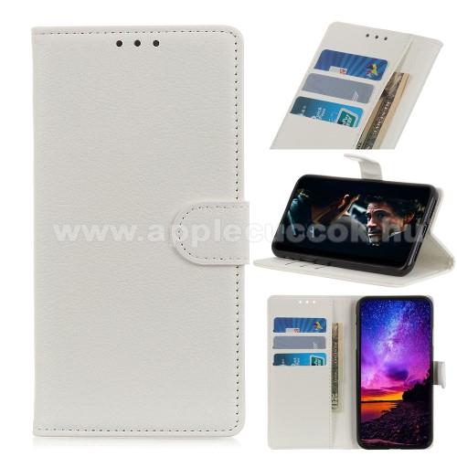 APPLE iPhone 12 Pro MaxWALLET notesz tok / flip tok - FEHÉR - asztali tartó funkciós, oldalra nyíló, rejtett mágneses záródás, bankkártyatartó zseb, szilikon belső - APPLE iPhone 12 Pro Max