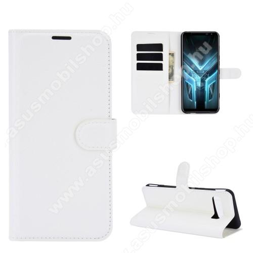 WALLET notesz tok / flip tok - FEHÉR  - asztali tartó funkciós, oldalra nyíló, rejtett mágneses záródás, bankkártyatartó zseb, szilikon belső - ASUS ROG Phone 3 (ZS661KS) / ASUS ROG Phone 3 Strix