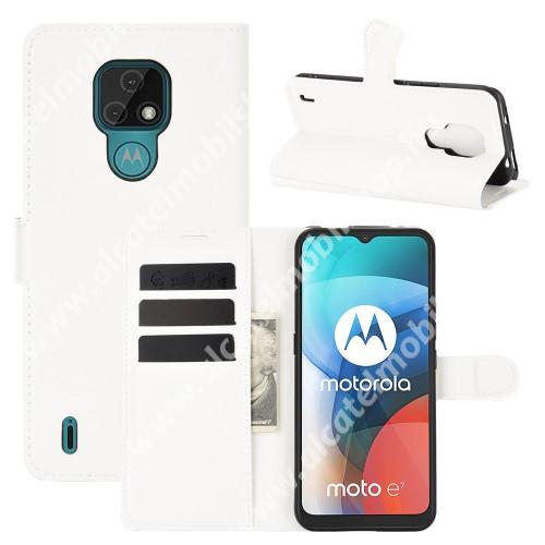 WALLET notesz tok / flip tok - FEHÉR - asztali tartó funkciós, oldalra nyíló, rejtett mágneses záródás, bankkártyatartó zseb, szilikon belső - MOTOROLA Moto E7 (2020)
