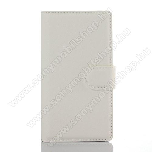 WALLET notesz tok / flip tok - FEHÉR - asztali tartó funkciós, oldalra nyíló, rejtett mágneses záródás, bankkártyatartó zseb - SONY Xperia Z5 Compact