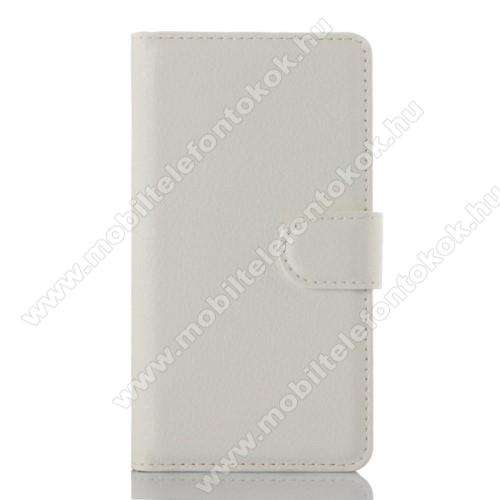 WALLET notesz tok / flip tok - FEHÉR - asztali tartó funkciós, oldalra nyíló, rejtett mágneses záródás, bankkártyatartó zseb - Lenovo A2010