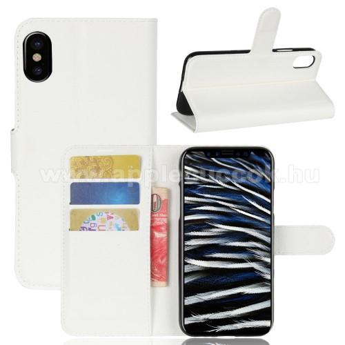 WALLET notesz tok / flip tok - FEHÉR - asztali tartó funkciós, oldalra nyíló, rejtett mágneses záródás, bankkártyatartó zseb, szilikon belső - APPLE iPhone X / APPLE iPhone XS