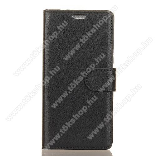 WALLET notesz tok / flip tok - FEKETE - asztali tartó funkciós, oldalra nyíló, rejtett mágneses záródás, bankkártyatartó zseb, szilikon belső - ASUS Zenfone Max Plus (M1)