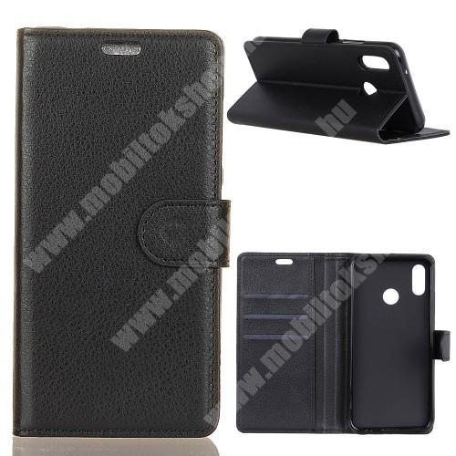 WALLET notesz tok / flip tok - FEKETE - asztali tartó funkciós, oldalra nyíló, rejtett mágneses záródás, bankkártyatartó zseb, szilikon belső - Xiaomi Mi 8 SE