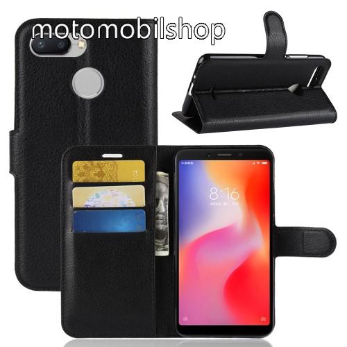 WALLET notesz tok / flip tok - FEKETE - asztali tartó funkciós, oldalra nyíló, rejtett mágneses záródás, bankkártyatartó zseb, szilikon belső - Xiaomi Redmi 6