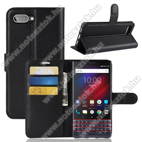 Wallet notesz tok / flip tok - FEKETE - asztali tartó funkciós, oldalra nyíló, rejtett mágneses záródás, bankkártyatartó zseb, szilikon belső - BLACKBERRY KEY2 LE