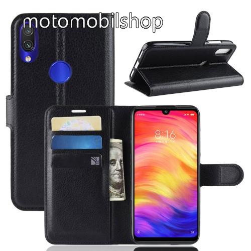 WALLET notesz tok / flip tok - FEKETE - asztali tartó funkciós, oldalra nyíló, rejtett mágneses záródás, bankkártyatartó zseb, szilikon belső - Xiaomi Redmi Note 7 / Xiaomi Redmi Note 7 Pro / Xiaomi Redmi Note 7S