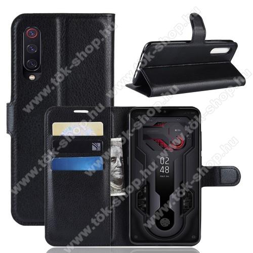 Wallet notesz tok / flip tok - FEKETE - asztali tartó funkciós, oldalra nyíló, rejtett mágneses záródás, bankkártyatartó zseb, szilikon belső - Xiaomi Mi 9 / Xiaomi Mi 9 Explorer