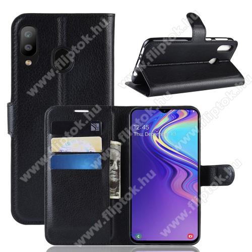 WALLET notesz tok / flip tok - FEKETE - asztali tartó funkciós, oldalra nyíló, rejtett mágneses záródás, bankkártyatartó zseb, szilikon belső - SAMSUNG SM-M205F Galaxy M20