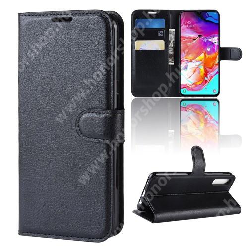 WALLET notesz tok / flip tok - FEKETE - asztali tartó funkciós, oldalra nyíló, rejtett mágneses záródás, bankkártyatartó zseb, szilikon belső - SAMSUNG SM-A705F Galaxy A70