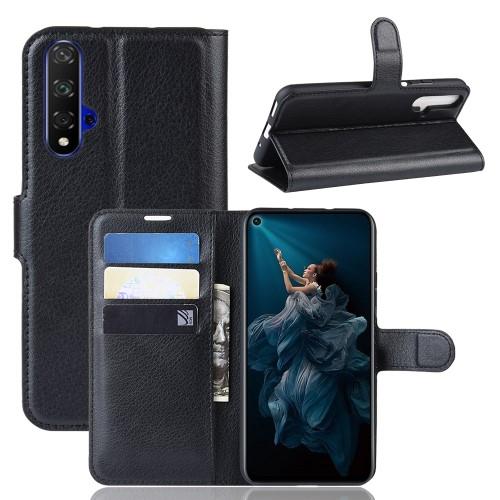 WALLET notesz tok / flip tok - FEKETE - asztali tartó funkciós, oldalra nyíló, rejtett mágneses záródás, bankkártyatartó zseb, szilikon belső - HUAWEI Honor 20 / HUAWEI Honor 20S / HUAWEI nova 5T