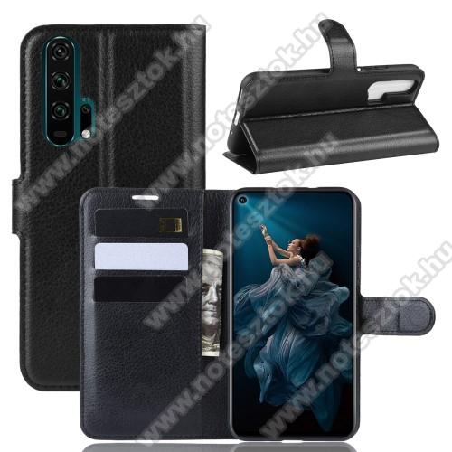WALLET notesz tok / flip tok - FEKETE - asztali tartó funkciós, oldalra nyíló, rejtett mágneses záródás, bankkártyatartó zseb, szilikon belső - HUAWEI Honor 20 Pro
