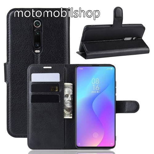 WALLET notesz tok / flip tok - FEKETE - asztali tartó funkciós, oldalra nyíló, rejtett mágneses záródás, bankkártyatartó zseb, szilikon belső - Xiaomi Redmi K20 / Xiaomi Redmi K20 Pro / Xiaomi Mi 9T Pro / Xiaomi Mi 9T
