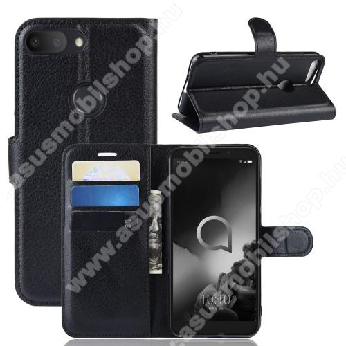 WALLET notesz tok / flip tok - FEKETE - asztali tartó funkciós, oldalra nyíló, rejtett mágneses záródás, bankkártyatartó zseb, szilikon belső - ALCATEL 1s