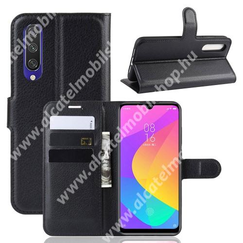 WALLET notesz tok / flip tok - FEKETE - asztali tartó funkciós, oldalra nyíló, rejtett mágneses záródás, bankkártyatartó zseb, szilikon belső - Xiaomi Mi CC9e / Xiaomi Mi A3