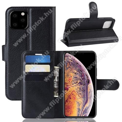 WALLET notesz tok / flip tok - FEKETE - asztali tartó funkciós, oldalra nyíló, rejtett mágneses záródás, bankkártyatartó zseb, szilikon belső - APPLE iPhone 11 Pro Max