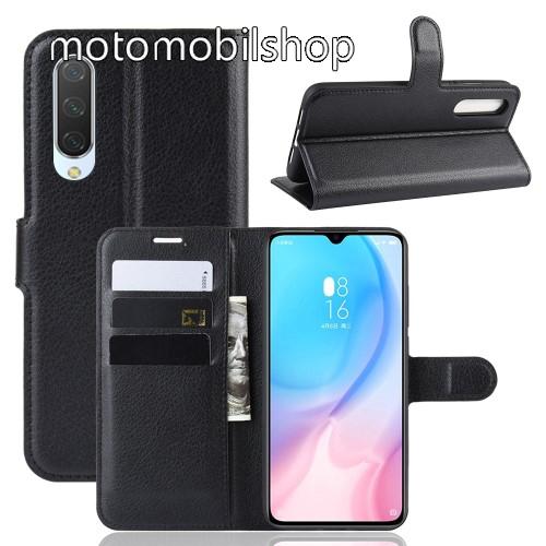 WALLET notesz tok / flip tok - FEKETE - asztali tartó funkciós, oldalra nyíló, rejtett mágneses záródás, bankkártyatartó zseb, szilikon belső - Xiaomi Mi 9 Lite / Xiaomi Mi CC9