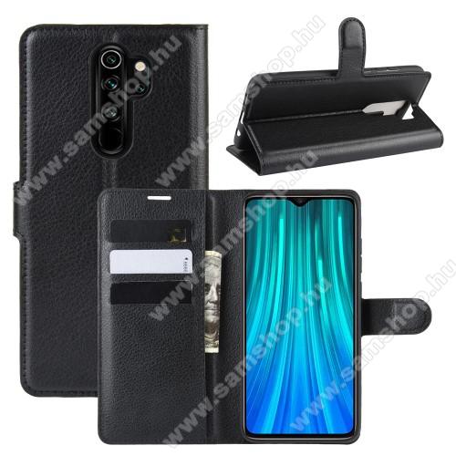 WALLET notesz tok / flip tok - FEKETE - asztali tartó funkciós, oldalra nyíló, rejtett mágneses záródás, bankkártyatartó zseb, szilikon belső - Xiaomi Redmi Note 8 Pro