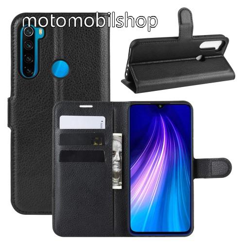 WALLET notesz tok / flip tok - FEKETE - asztali tartó funkciós, oldalra nyíló, rejtett mágneses záródás, bankkártyatartó zseb, szilikon belső - Xiaomi Redmi Note 8