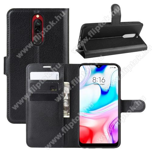 WALLET notesz tok / flip tok - FEKETE - asztali tartó funkciós, oldalra nyíló, rejtett mágneses záródás, bankkártyatartó zseb, szilikon belső - Xiaomi Redmi 8 / Xiaomi Redmi 8A