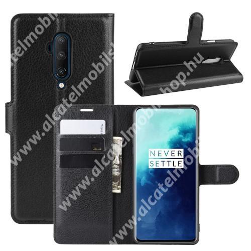 WALLET notesz tok / flip tok - FEKETE - asztali tartó funkciós, oldalra nyíló, rejtett mágneses záródás, bankkártyatartó zseb, szilikon belső - OnePlus 7T Pro