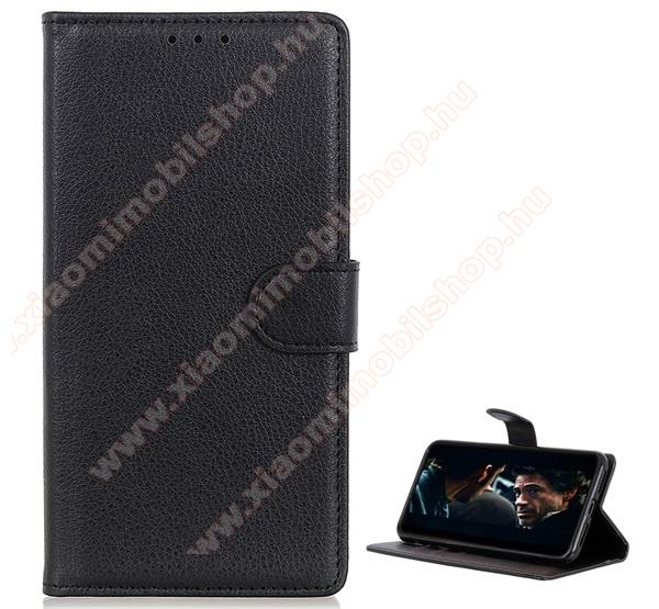 WALLET notesz tok / flip tok - FEKETE - asztali tartó funkciós, oldalra nyíló, rejtett mágneses záródás, bankkártyatartó zseb, szilikon belső - Xiaomi Redmi Note 8T