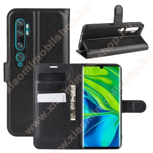 WALLET notesz tok / flip tok - FEKETE - asztali tartó funkciós, oldalra nyíló, rejtett mágneses záródás, bankkártyatartó zseb, szilikon belső - Xiaomi Mi Note 10 / Xiaomi Mi Note 10 Pro / Xiaomi Mi CC9 Pro