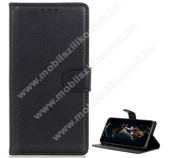 WALLET notesz tok / flip tok - FEKETE - asztali tartó funkciós, oldalra nyíló, rejtett mágneses záródás, bankkártyatartó zseb, prémium, szilikon belső - SAMSUNG SM-A715F Galaxy A71