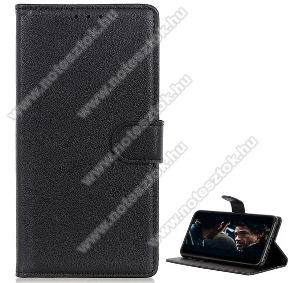WALLET notesz tok / flip tok - FEKETE - asztali tartó funkciós, oldalra nyíló, rejtett mágneses záródás, bankkártyatartó zseb, prémium, szilikon belső - SAMSUNG SM-A515F Galaxy A51